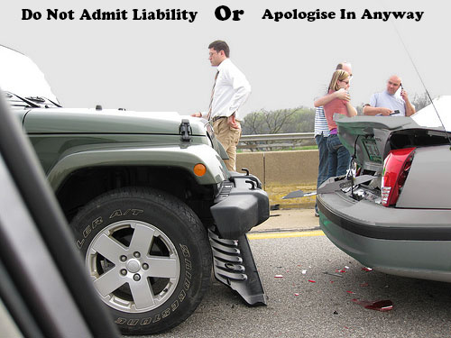 Do not admit liability or apologise in any way